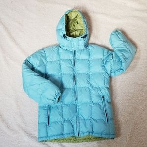 Lands End Turq/Green Reversible Down Coat, Small